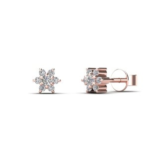 AALILLY 10k Rose Gold Diamond Accent Flower Earrings (H-I, I1-I2)
