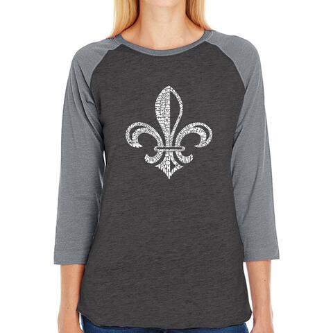 LA Pop Art Women's Raglan Baseball Word Art T-shirt - LYRICS TO WHEN THE SAINTS GO MARCHING IN