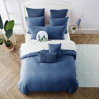 Jersey Knit Cotton Duvet Set in Blue
