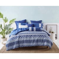 Shibori Stripe Cotton Comforter Set in Blue