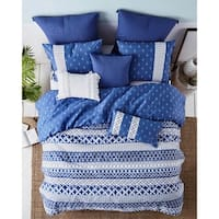 AWE  Shibori Stripe  Print Cotton Duvet Set in Blue