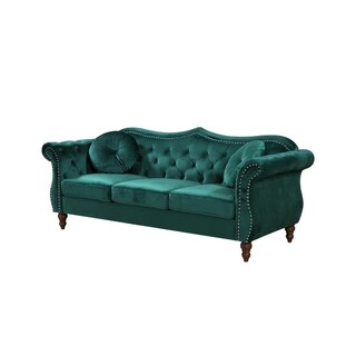 Billy Crushed Velvet Nailhead Chesterfield Sofa (Option: Green - Velvet - Sofa)