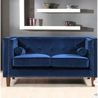 Classic Nailhead Crushed velvet Chesterfield Loveseat