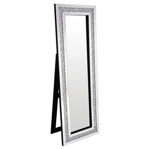 Best Quality Furniture Rectangular Silver Standing Crystal Floor Mirror