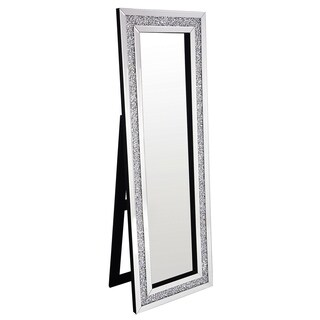 Best Quality Furniture Rectangular Silver Standing Crystal Floor Mirror