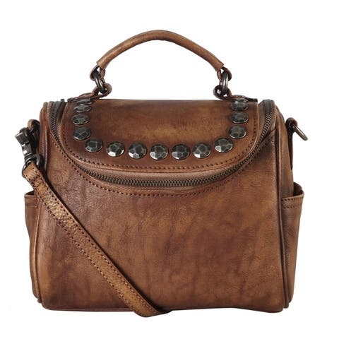 Diophy Genuine Leather Archaic Stud Top Handle Bag