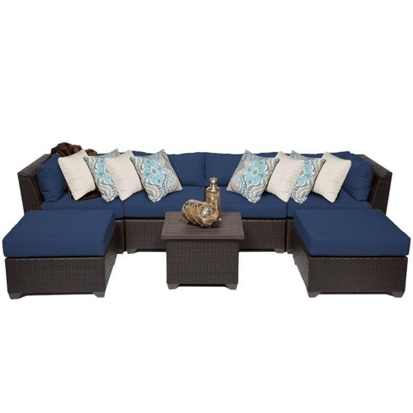 shop barbados 7 piece outdoor wicker patio furniture set 07a free rh overstock com