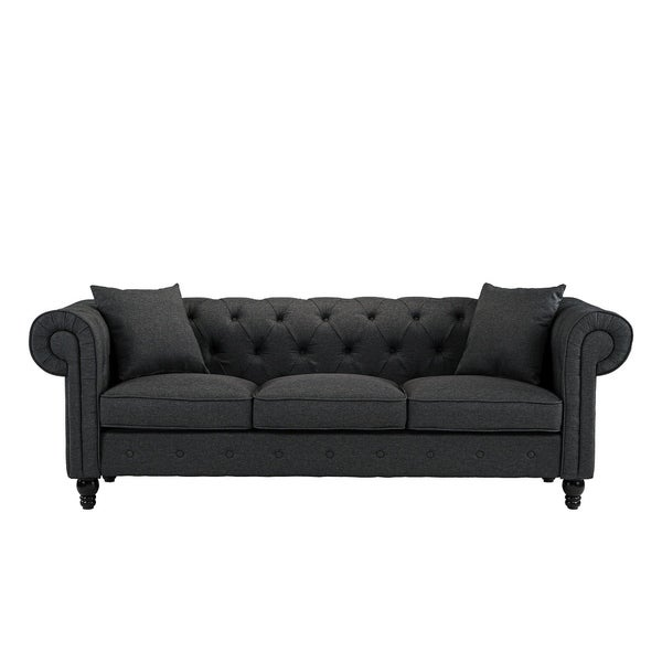 Classic Chesterfield 3 Seater Sofa, Linen by Generic