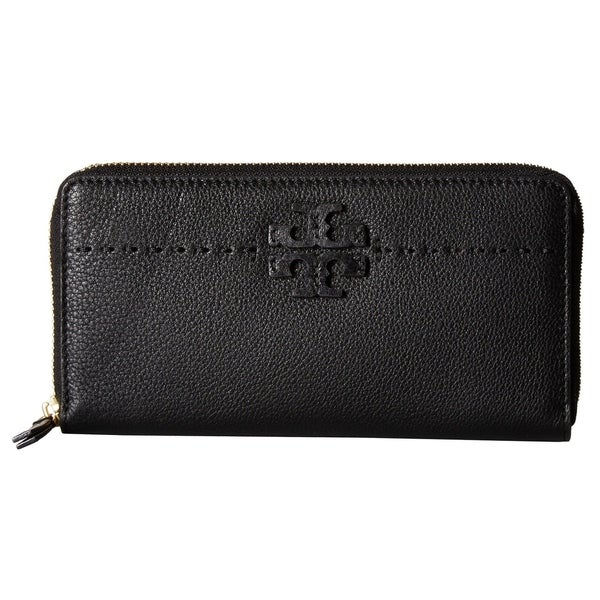 aa503b8f392 Shop Tory Burch McGraw Zip Continental Black Wallet - On Sale - Free ...