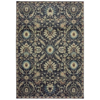 """New Traditions Floral Navy/ Ivory Dense Pile Area Rug - 3'10"""" x 5'5"""""""