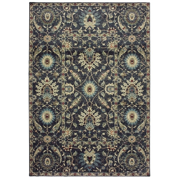"New Traditions Floral Navy/ Ivory Dense Pile Area Rug - 3'10"" x 5'5"""