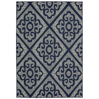 "Havenside Home Kaktovik Medallion Lattice Loop Pile Indoor/ Outdoor Area Rug - 3'7"" x 5'6"""