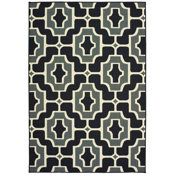 "Havenside Home Pavlof Bay Geometric Tile Black/ Grey Loop Pile Indoor/ Outdoor Area Rug - 3'7"" x 5'6"""