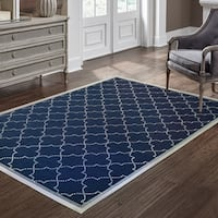 Simple Lattice Navy/ Ivory Loop Pile Indoor-Outdoor Area Rug - 2'5 x 4'5