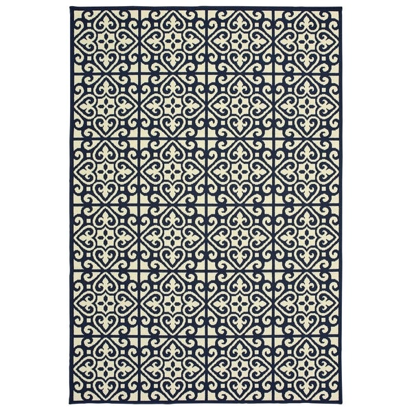 "Havenside Home Lindhurst Two-Tone Tile Pile Indoor/ Outdoor Area Rug - 3'7"" x 5'6"""