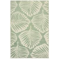 "Tropical Leaf Green/ Ivory Mixed Pile Indoor-Outdoor Area Rug - 3'3"" x 5'"