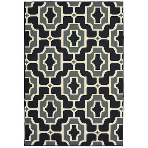 Pavlof Bay Geometric Tile Black/ Grey Loop Pile Indoor/ Outdoor Area Rug by Havenside Home