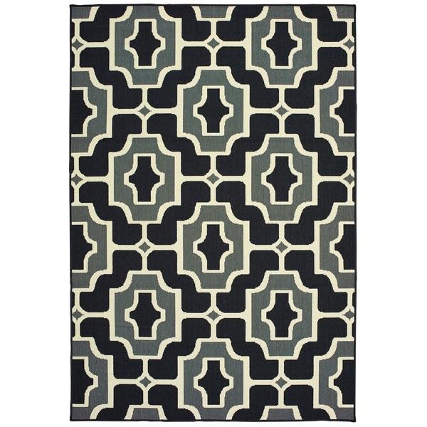 """Havenside Home Pavlof Bay Geometric Tile Black/ Grey Loop Pile Indoor/ Outdoor Area Rug - 2'5"""" x 4'5"""""""
