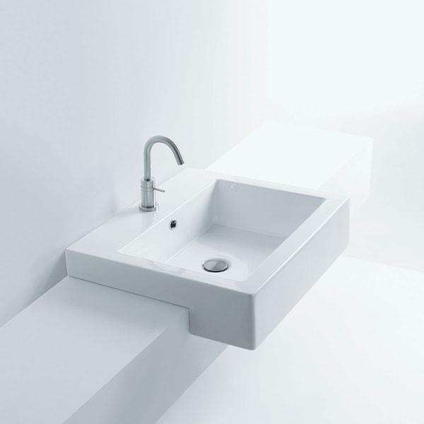 Shop Maui Premium Ceramic Rectangular Semi Recessed Bathroom Sink Overstock 21710131