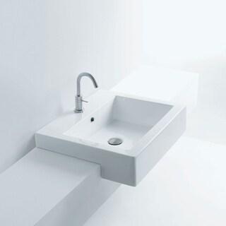 Maui Premium Ceramic Rectangular Semi-Recessed Bathroom Sink