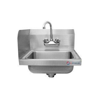 "EQ Kitchen Line Stainless Steel Commercial Compartment Sink, 15.75"" L x 15"" W x 13"" H"