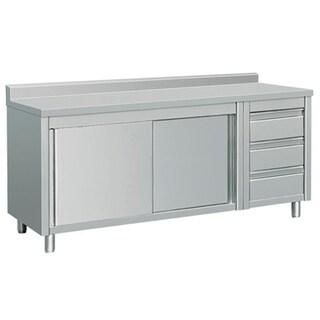 """EQ Kitchen Line THASR207R3A Prep Table Sliding Door Storage & 3 Drawers, 80"""" x 28"""" x 38"""", Stainless Steel"""