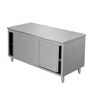 "EQ Kitchen Line THASR107 Prep Work Table Storage Cabinet Sliding Door, 40"" Length, 28"" Width, 34"" Height, Stainless Steel"