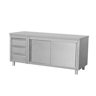 "EQ Kitchen Line THASR167L3 Prep Table Sliding Door Cabinet 3 Drawers Left, 64"" Length, 28"" Width, 34"" Height, Steel"