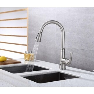 Runfine Single Handle Pull-DOWN Sensor Kitchen Faucet Brushed nickel