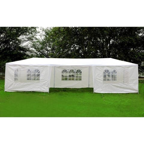 Mcombo 10'x30'OutdoorCanopyTentWeddingPartyHeavyDuty WaterproofInstantGazebowith7 RemovableSidewallsWhite