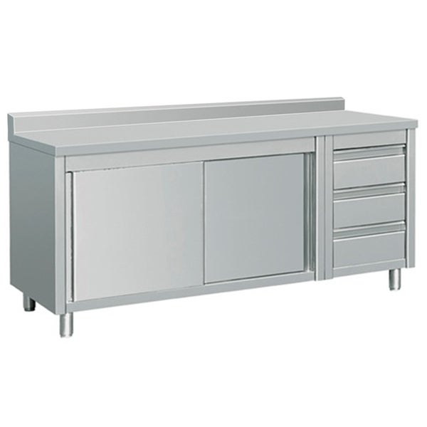 Shop EQ Kitchen Line THASR187R3A Prep Table Sliding Door ...