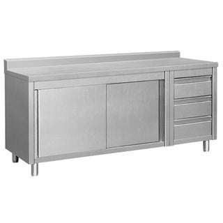 """EQ Kitchen Line THASR167R3A Prep Table Sliding Door Storage & 3 Drawers, 64' x 28"""" x 38"""", Stainless Steel"""