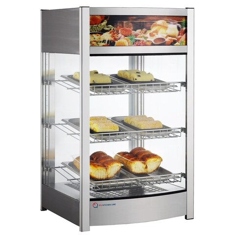 """EQ Kitchen Line Stainless Steel Commercial Heated Countertop Hot Display Case, 181.1""""L x 176.4""""W x 309""""H"""