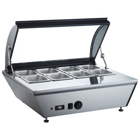 """EQ Kitchen Line Stainless Steel Commercial 8-Cell Heating Countertop Display, 33.07""""L x 27.2""""W x 15.35""""H"""