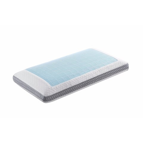 Queen Classic Memory Foam Pillow, White/Blue