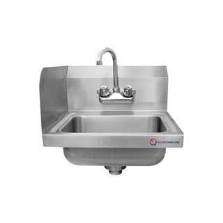"EQ Kitchen Line Stainless Steel Commercial Compartment Sink, 15"" L x 17"" W 13"" H"