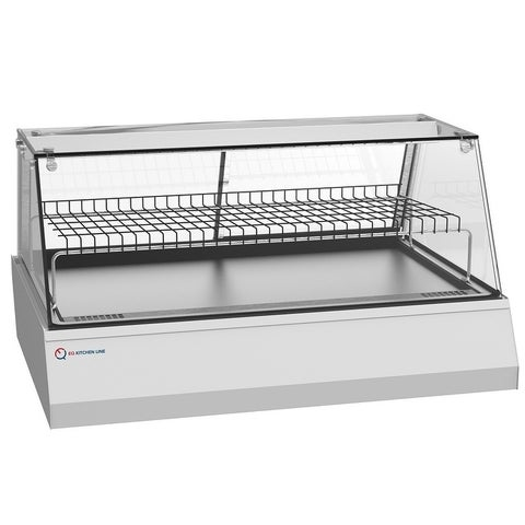 """EQ Kitchen Line Stainless Steel Commercial Rear Glass Sliding Door Heated Countertop Display Case, 42.13""""L x 30.5""""W x 24""""H"""