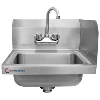 """EQ Kitchen Line Stainless Steel Commercial Compartment Sink, 15.75"""" L x 15"""" W x 13"""" H"""