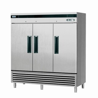 "EQ Kitchen Line SF-72L3 Commercial Standing Freezer, 3 Doors, 530 gal, 84.2"" Height, 30.8"" Width, 82.4"" Length, Stainless Steel"