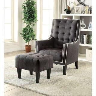 Wooden U0026 Fabric Chair U0026 Ottoman, 2 Piece Pack