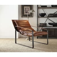 Metal & Leather Accent Lounge Chair, Cocoa Brown
