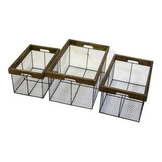 Attractive Brown Set Of 3 Baskets