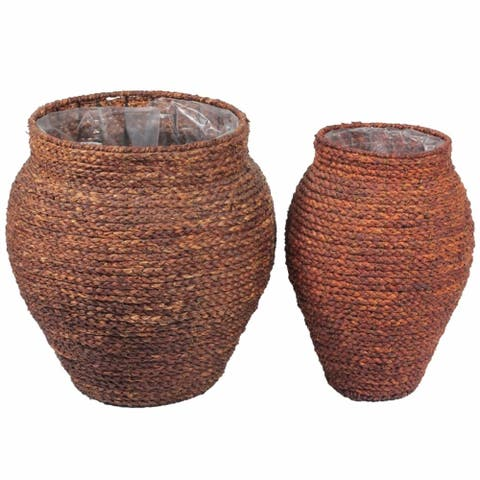 Woven Patterned Sea Grass Baskets, Brown, Set Of 2