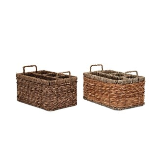 Rectangular Utility Basket with Handle Assortment of 2 Brown