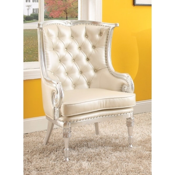 Shop Resin Amp Wood Accent Chair Silver Frame Amp Beige Seat