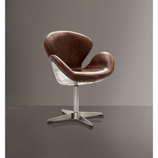 Top Grain Leather Accent Chair with Swivel, Brown & Silver