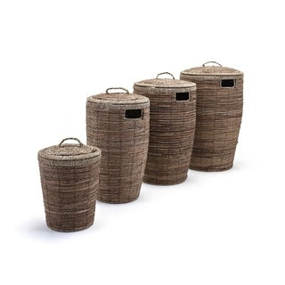 Round Laundry Baskets with lid and side cutouts Set of 4 Brown