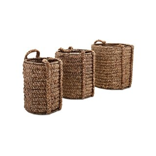 Woven Baskets with Handle Set of 3 Brown
