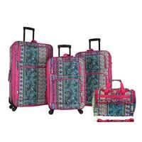 World Traveler Bohemian 4-piece Rolling Expandable Spinner Luggage Set