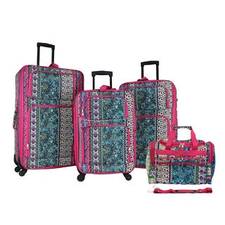 World Traveler Bohemian 4-piece Rolling Expandable Spinner Luggage Set